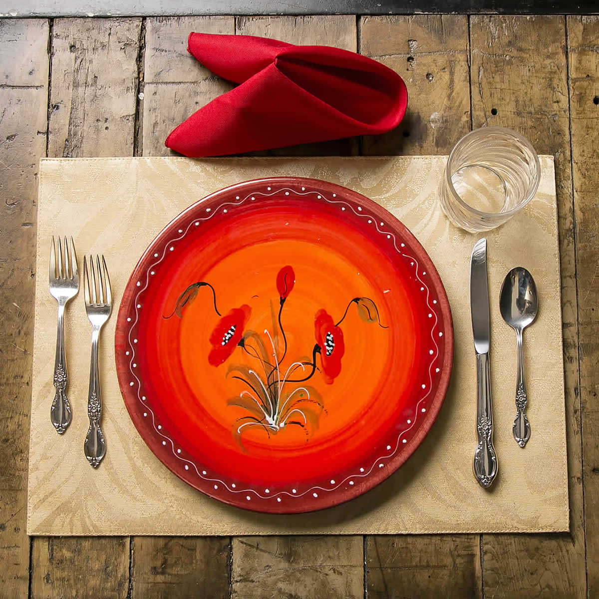Poppies Dinner Plate (Set of 4) | I See Spain - Handcrafted Spanish ...